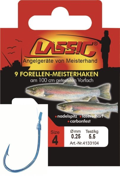 Cl. Forellenhk. geb. blau, 100 cm, Gr. 8,