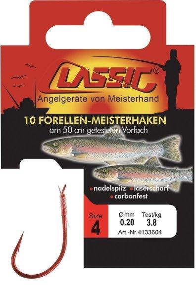 Cl. Forellenhk. geb. rot, 50 cm, Gr. 4,