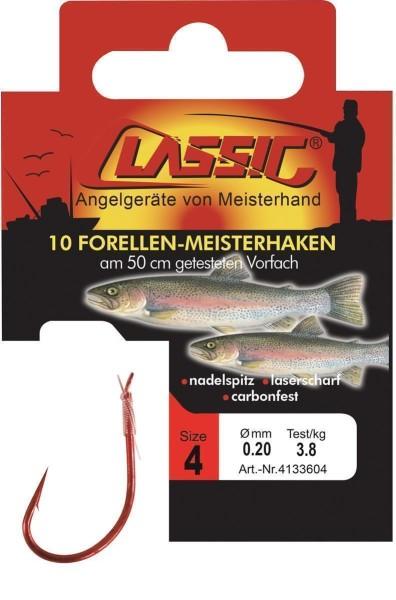 Cl. Forellenhk. geb. rot, 50 cm, Gr. 8,