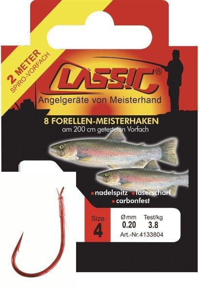 Cl. Forellenhk. geb. rot, 200 cm, Gr. 8,